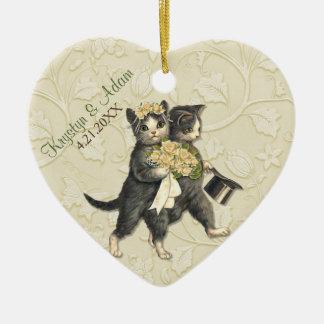 Posh Cats Wedding Ivory Ceramic Ornament
