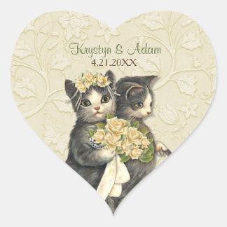 Posh Cats Wedding Ivory Heart Sticker