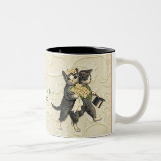 Posh Cats Wedding Ivory Two-Tone Coffee Mug