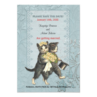 Posh Cats Wedding Save the Date 5x7 Paper Invitation Card