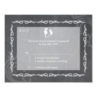 Posh Chalkboard Beach Wedding RSVP Card