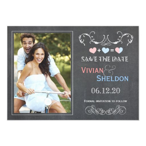 Posh Charcoal Gray Chalkboard Photo Save the Date 5x7 Paper Invitation Card