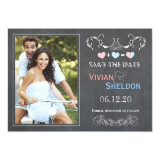 Posh Charcoal Gray Chalkboard Photo Save the Date Card