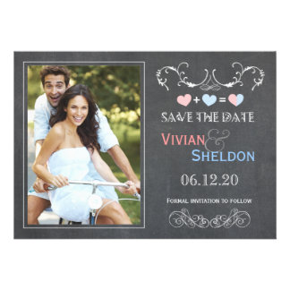 Posh Charcoal Gray Chalkboard Photo Save the Date Personalized Announcement