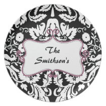 Posh chic trendy damask,pink personalized dinner plate