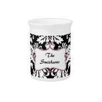 Posh chic trendy damask,pink personalized drink pitcher