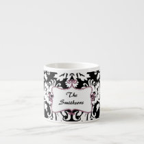 Posh chic trendy damask,pink personalized espresso cup