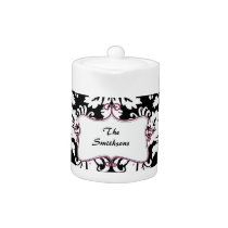 Posh chic trendy damask,pink personalized teapot
