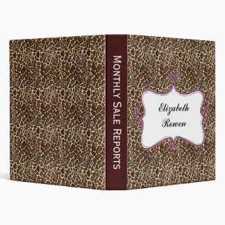Posh chic trendy leopard print,pink personalized 3 ring binder