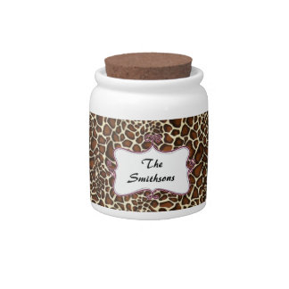 Posh chic trendy leopard print,pink personalized candy jars