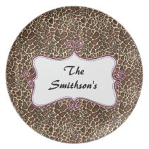 Posh chic trendy leopard print,pink personalized dinner plate