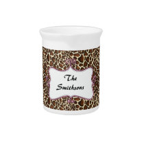 Posh chic trendy leopard print,pink personalized drink pitcher