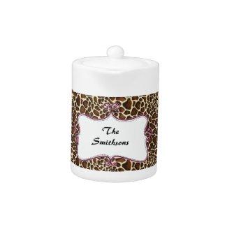 Posh chic trendy leopard print,pink personalized zazzle_teapot
