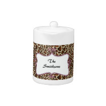 Posh chic trendy leopard print,pink personalized teapot