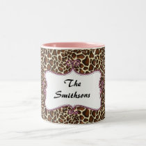Posh chic trendy leopard print,pink personalized Two-Tone coffee mug