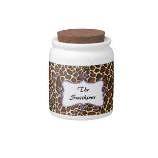 Posh chic trendy leopard print,purple personalized candy dish