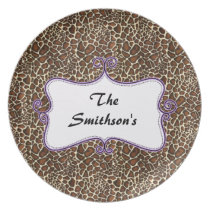 Posh chic trendy leopard print,purple personalized melamine plate