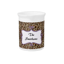 Posh chic trendy leopard print,purple personalized pitcher