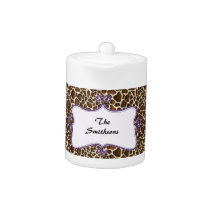 Posh chic trendy leopard print,purple personalized teapot