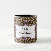 Posh chic trendy leopard print,purple personalized Two-Tone coffee mug