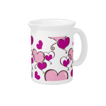 Posh chic trendy pink hearts drink pitcher