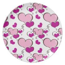 Posh chic trendy pink hearts plate
