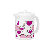 Posh chic trendy pink hearts teapot