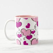 Posh chic trendy pink hearts Two-Tone coffee mug