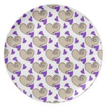 Posh chic trendy purple beige hearts dinner plate