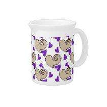 Posh chic trendy purple beige hearts drink pitcher