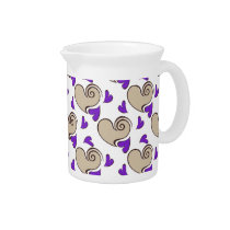 Posh chic trendy purple beige hearts pitchers