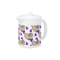 Posh chic trendy purple beige hearts teapot