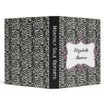 Posh chic trendy zebra stripes,pink personalized 3 ring binder