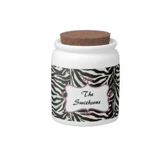 Posh chic trendy zebra stripes,pink personalized candy dish
