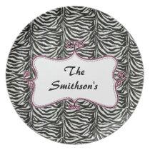 Posh chic trendy zebra stripes,pink personalized melamine plate