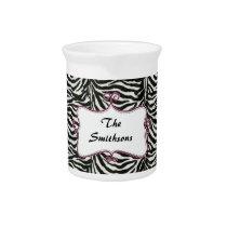 Posh chic trendy zebra stripes,pink personalized pitcher
