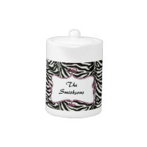 Posh chic trendy zebra stripes,pink personalized teapot