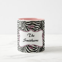 Posh chic trendy zebra stripes,pink personalized Two-Tone coffee mug