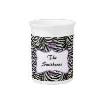 Posh chic trendy zebra stripes,purple personalized beverage pitcher