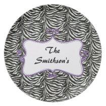 Posh chic trendy zebra stripes,purple personalized dinner plate