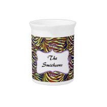 Posh chic trendy zebra stripes,purple personalized drink pitcher