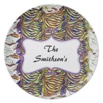 Posh chic trendy zebra stripes,purple personalized melamine plate