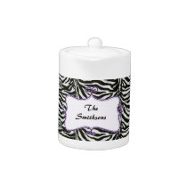Posh chic trendy zebra stripes,purple personalized teapot