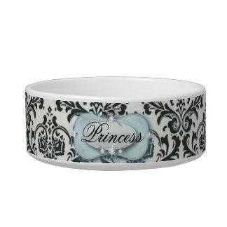 posh classy Damask princess cat food bowl