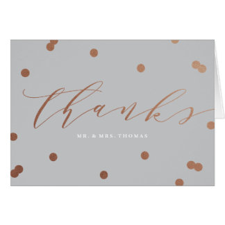 Posh confetti faux foil thank you folded note card
