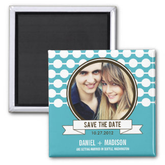 Posh Couple Save The Date Magnet - Turquoise