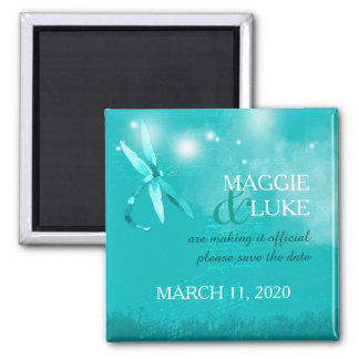 Posh Dragonfly Teal Wedding Save the Date Magnet