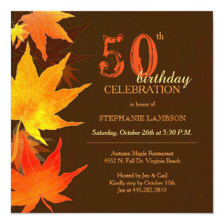 Posh Fall Maple 50th Birthday Party Card