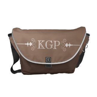 Posh Fleur de Lis Monogram on Chocolate Brown Messenger Bags