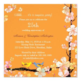 Posh Kissing Birds Surprise 25th Anniversary Party 5.25x5.25 Square Paper Invitation Card